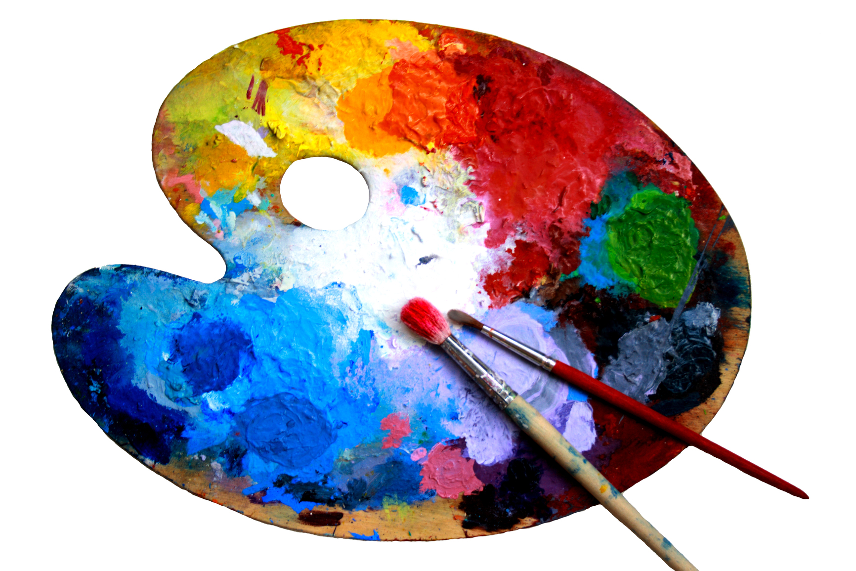 Oval art palette with paints and two brushes on a white back-ground